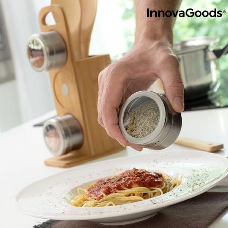 Set de rafturi magnetice pentru condimente cu ustensile din bambus Bamsa1