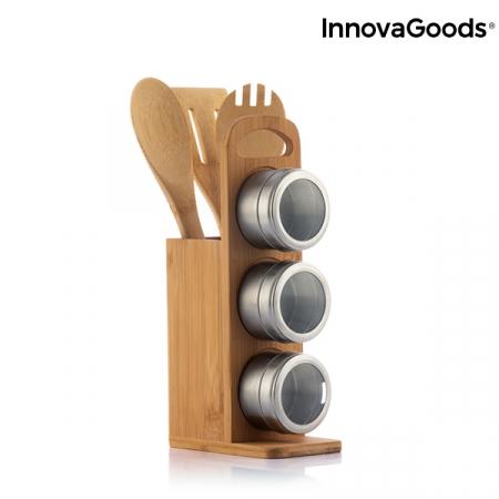 Set de rafturi magnetice pentru condimente cu ustensile din bambus Bamsa4