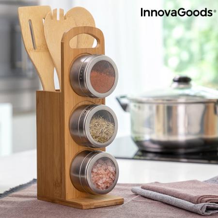 Set de rafturi magnetice pentru condimente cu ustensile din bambus Bamsa0