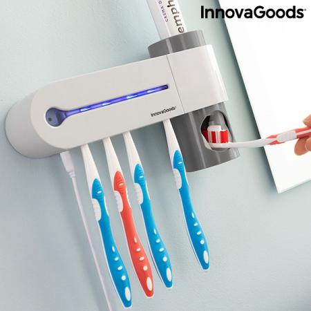 Sterilizator UV pentru periuță de dinți cu suport și distribuitor de pastă de dinți Smiluv2