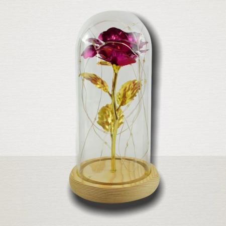 Trandafir in cupola de sticla decorat cu lumini led2