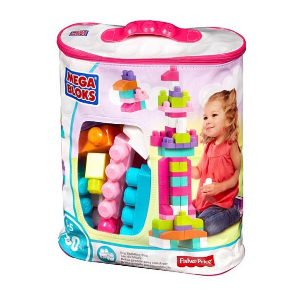 Set cuburi de construit Mega Bloks - 80 de bucati pentru fetite Fisher-Price 0