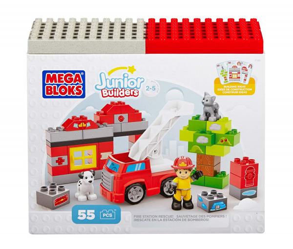 Set de constructie Mega Bloks Pompierie, 55 cuburi 0