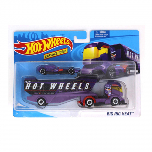 Set de joaca Mattel Hot Wheels Camion si masinuta Big Rig Heat 1