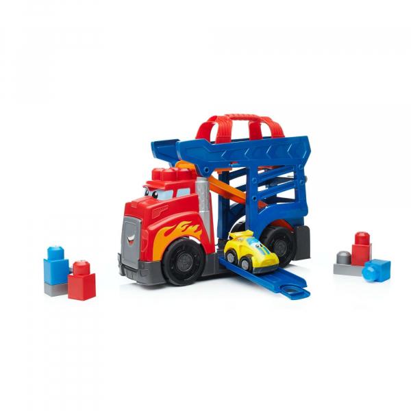 Set de constructie Mega Bloks Camion cu masinuta si pista de lansare 4