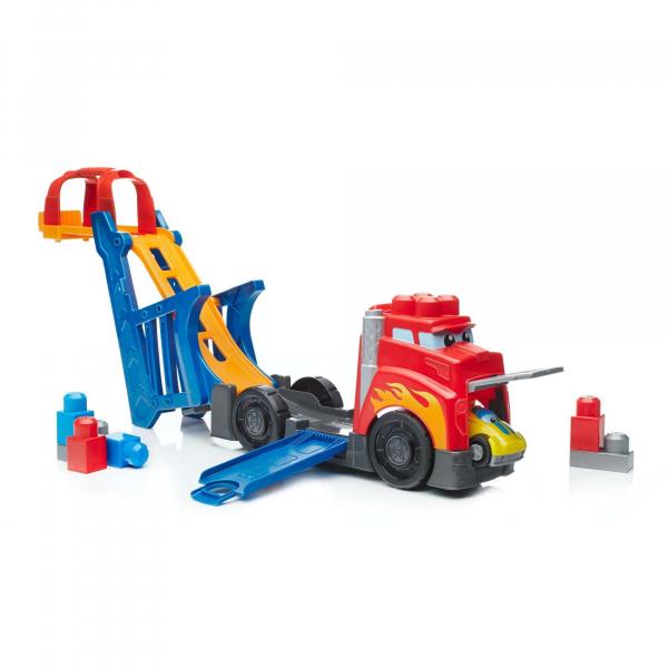 Set de constructie Mega Bloks Camion cu masinuta si pista de lansare 7