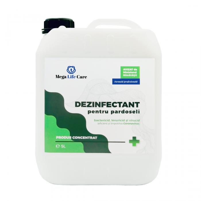 Dezinfectant pentru pardoseli Mega Life Care, 5 L, bactericid, levuricid, virucid, eficient si impotriva Coronavirus 0
