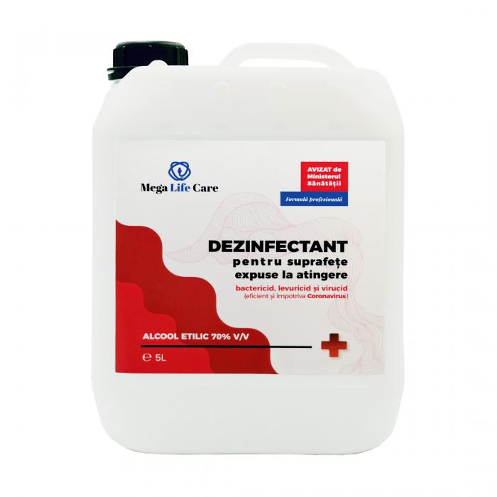 Dezinfectant pentru suprafete Mega Life Care, 5 L, bactericid, levuricid, virucid, eficient si impotriva Coronavirus 0