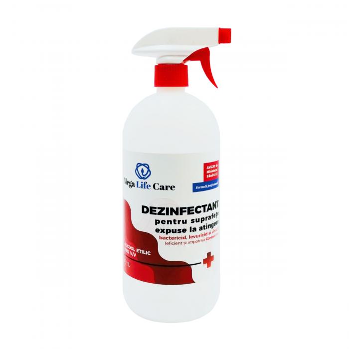 Dezinfectant pentru suprafete cu triger Mega Life Care, 1 L, bactericid, levuricid, virucid, eficient si impotriva Coronavirus [0]