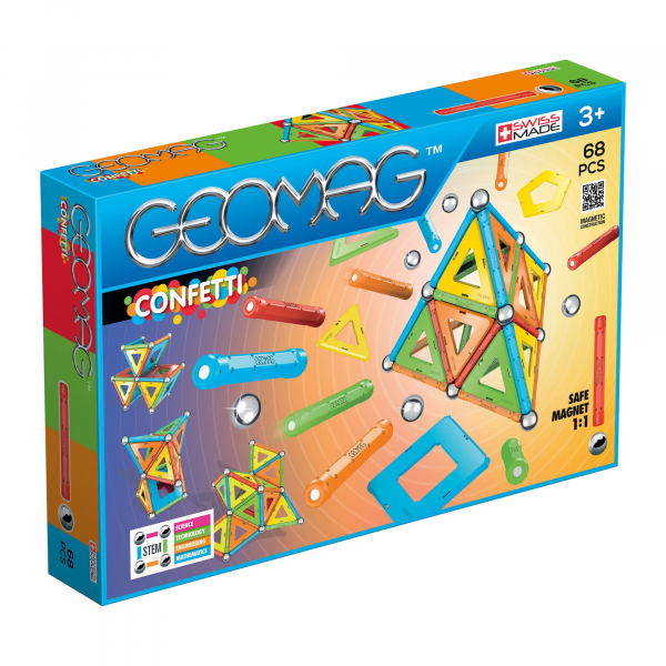 Set de constructie magnetic Geomag Confetti 68 piese 0