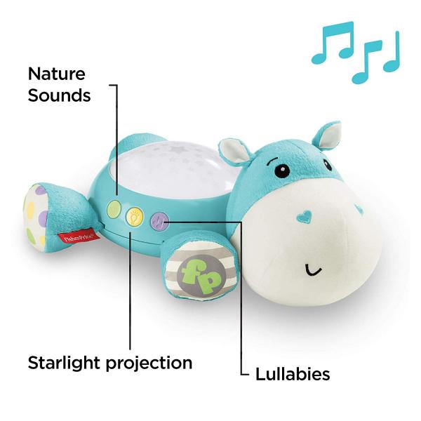 Lampa de veghe Fisher Price, Hippo de plus cu proiector si muzica 1