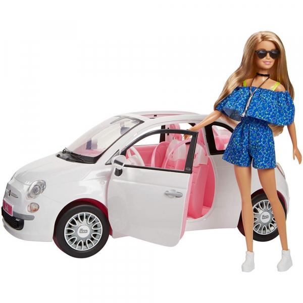Set de joaca Mattel Barbie Papusa si automobil Fiat 500 0