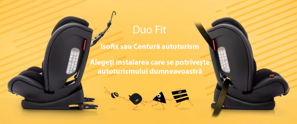 Scaun auto BABYAUTO G-CAT, Duo Fit, Isofix sau centura vehicul, 9-36 kg, Negru 14