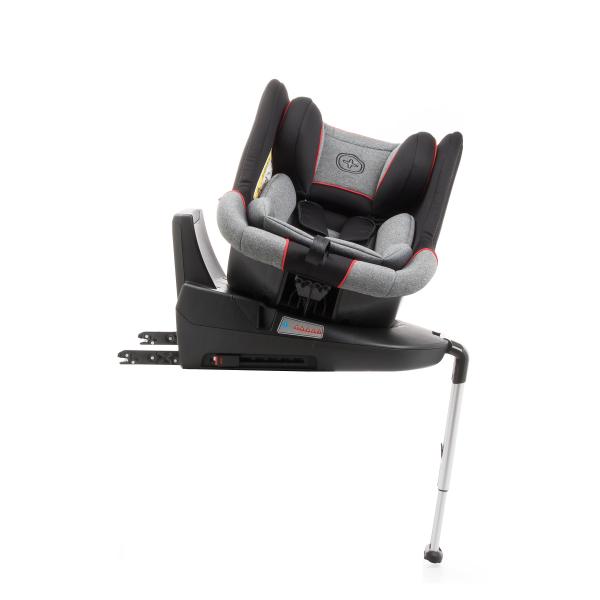 Scaun auto BABYAUTO MORE LENNOX, Isofix, rotatie 360 grade, picior suport, 0-18 kg, Gri/Rosu 6