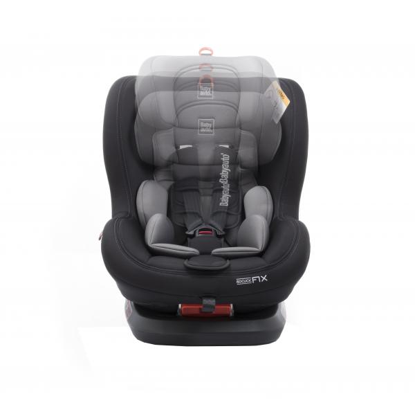 Scaun auto BABYAUTO BIRO Fix, Isofix, rotatie 360 grade, 0-25 kg, Negru/Gri 8