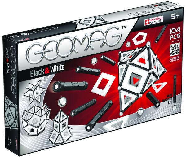 Set de constructie magnetic Geomag Black&White 104 piese 0