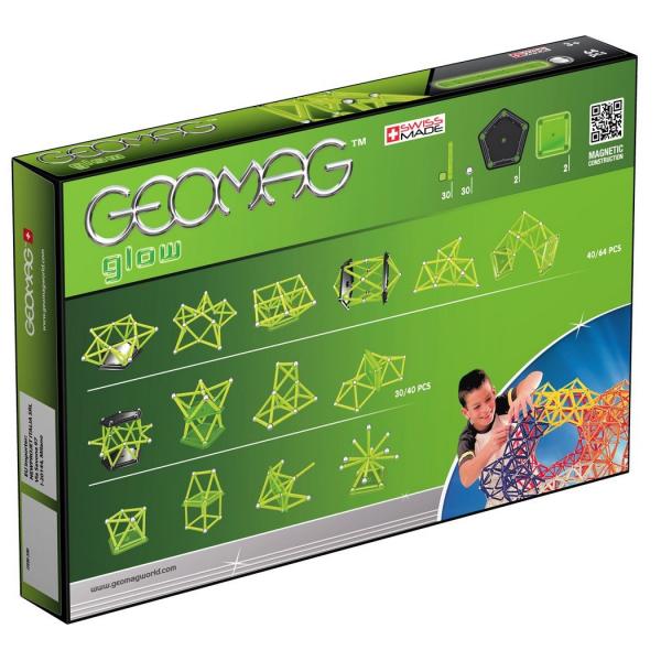 Set de constructie magnetic Geomag Glow 64 piese 1