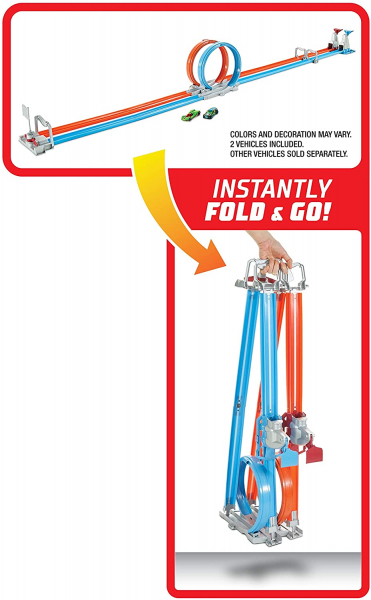 Set de joaca Hot Wheels Double Loop, 2 masinute incluse 4
