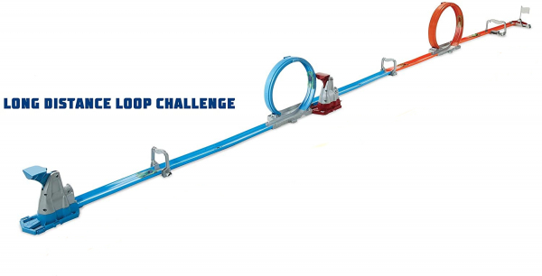 Set de joaca Hot Wheels Double Loop, 2 masinute incluse 1
