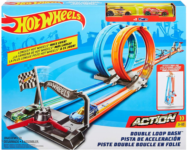 Set de joaca Hot Wheels Double Loop, 2 masinute incluse 5