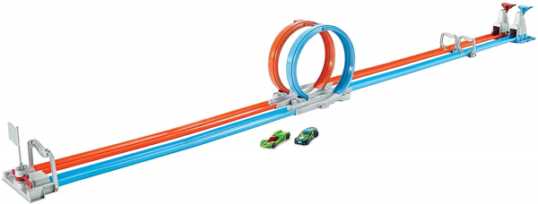 Set de joaca Hot Wheels Double Loop, 2 masinute incluse 0