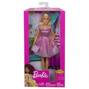 Papusa Mattel Barbie Editie Aniversara Birthday Wishes in rochie roz cu o cutie de cadou [2]