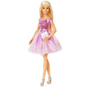 Papusa Mattel Barbie Editie Aniversara Birthday Wishes in rochie roz cu o cutie de cadou [3]