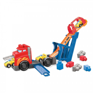 Set de constructie Mega Bloks Camion cu masinuta si pista de lansare, 10 piese2