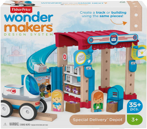 Set constuctie Fisher-Price Wonder Makers Special Delivery Depot 35 piese1