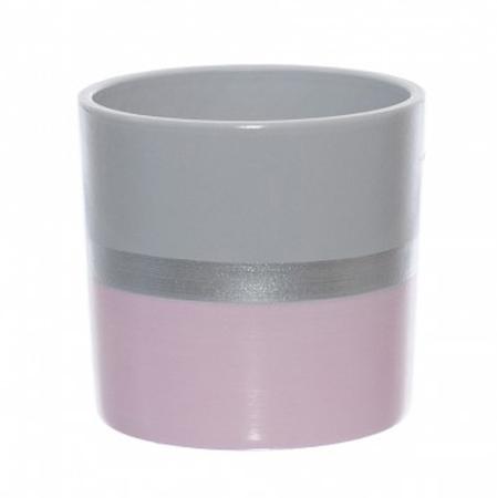 Vas ceramica roz cu dunga argintie 13,5 cm [0]