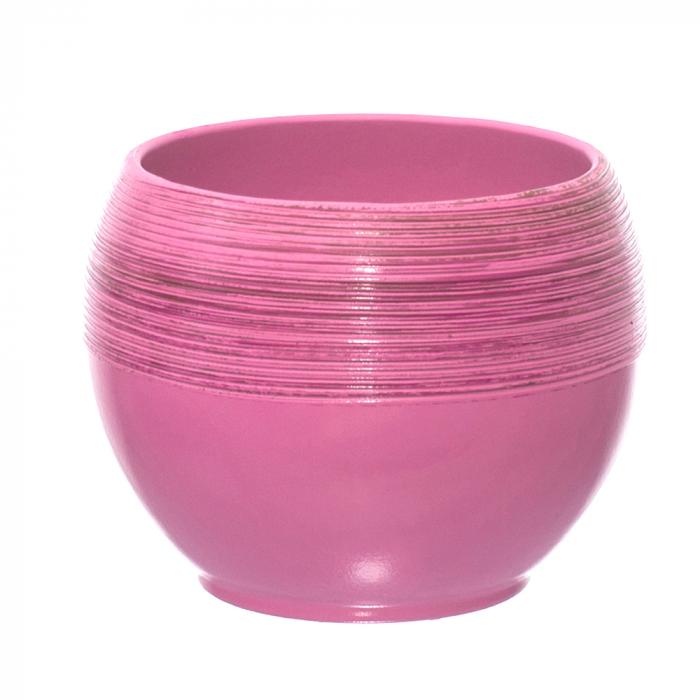 Ceramica 15 cm roz cu striatii [0]