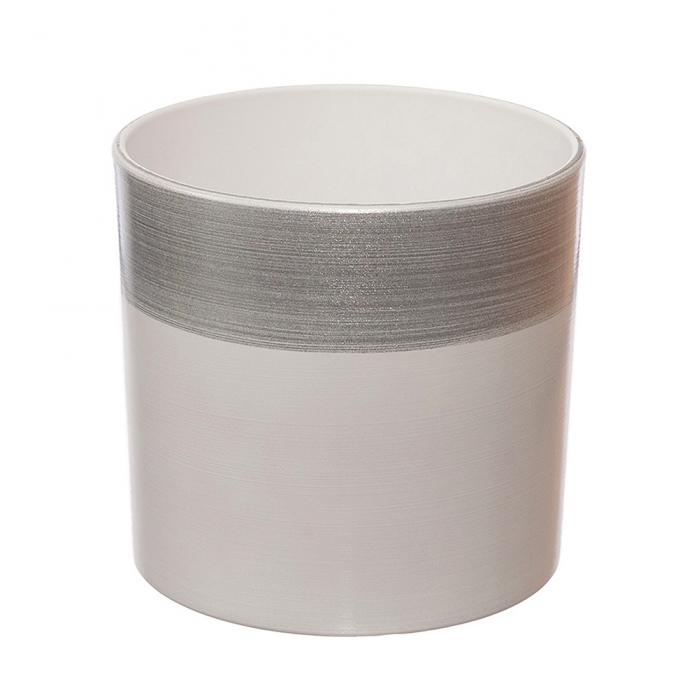 Ceramica 18 cm alb cu dunga argintie [0]