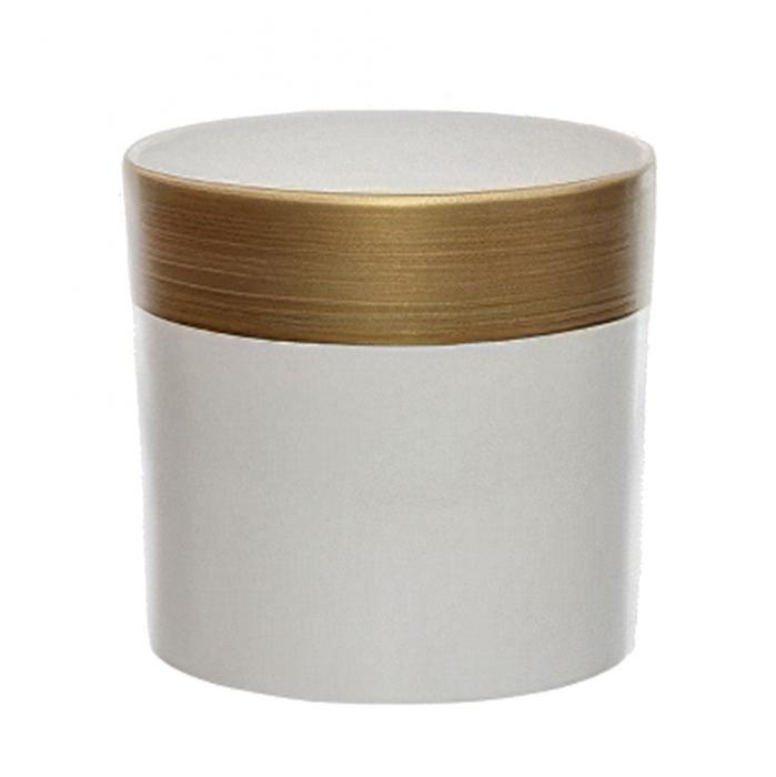 Ceramica 18 cm alb cu dunga aurie [0]