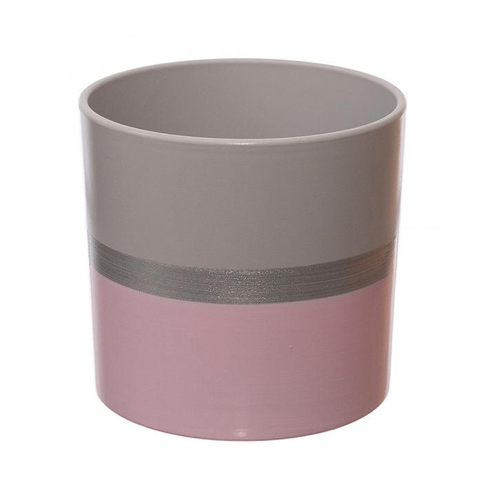 Ceramica 18 cm roz cu dunga argintie [0]