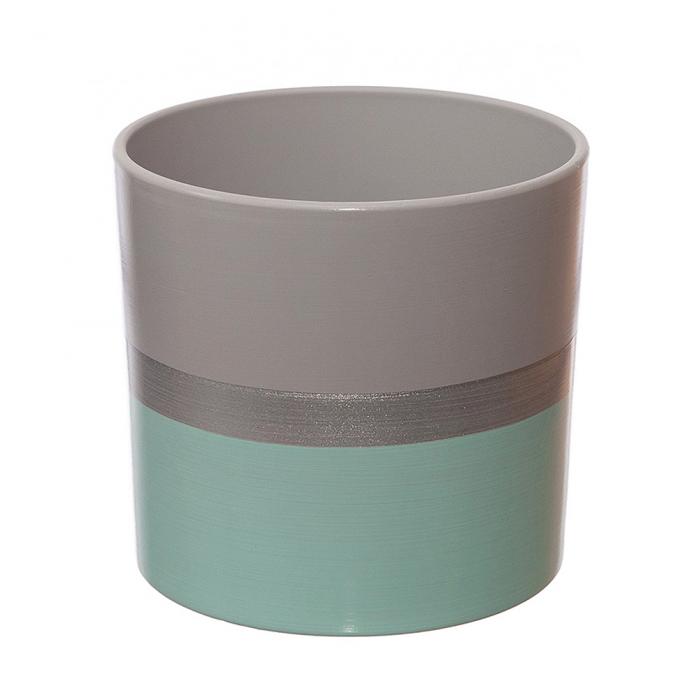 Ceramica 18 cm turcoaz cu dunga argintie [0]