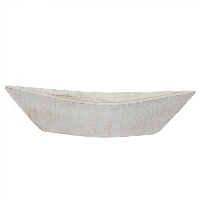 Cos lemn tip barca alb [0]