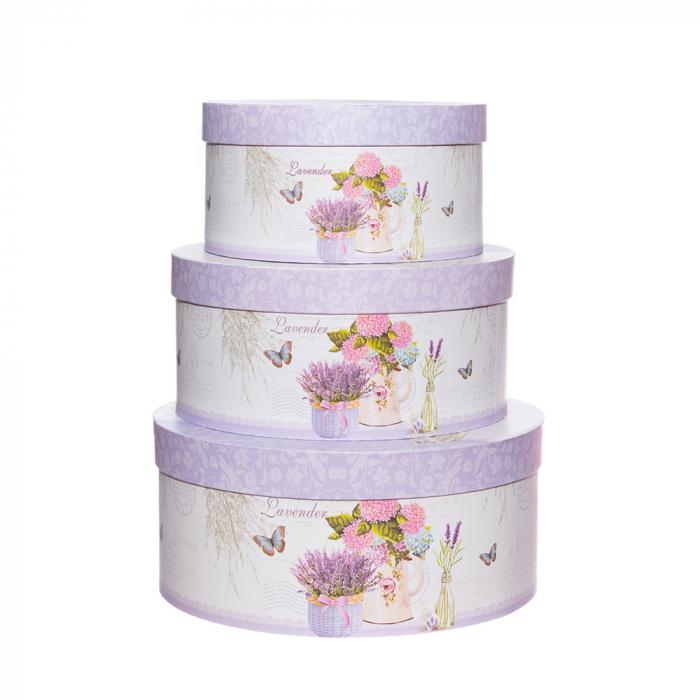 Set 3 cutii rotunde lavanda-hortensii [0]