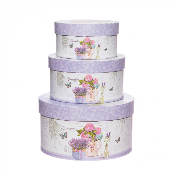 Set 3 cutii rotunde lavanda-hortensii mari [0]