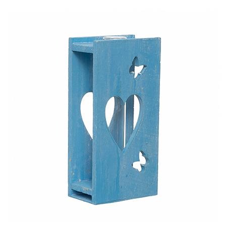 Tub sticla cu suport lemn bleu [0]