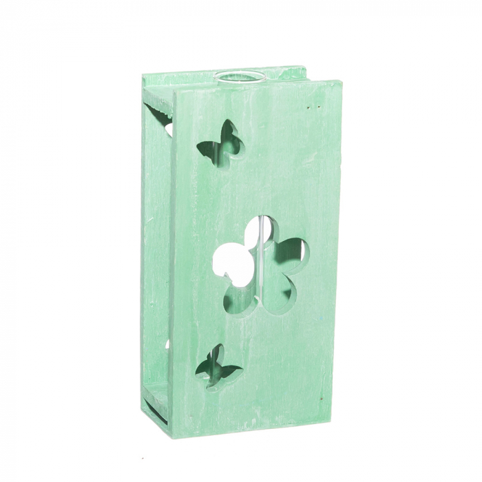 Tub sticla cu suport lemn verde [0]