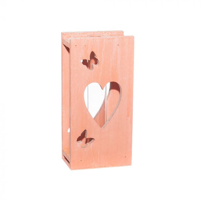 Tub sticla cu suport lemn roz [0]