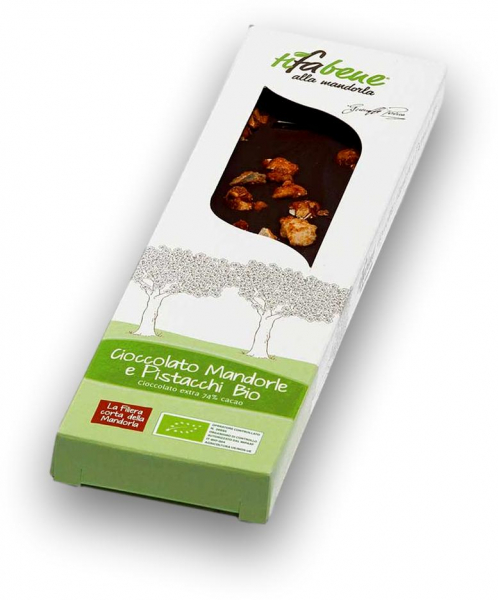 Ciocolata bio cu 74% cacao, migdale si fistic Tifabene [0]