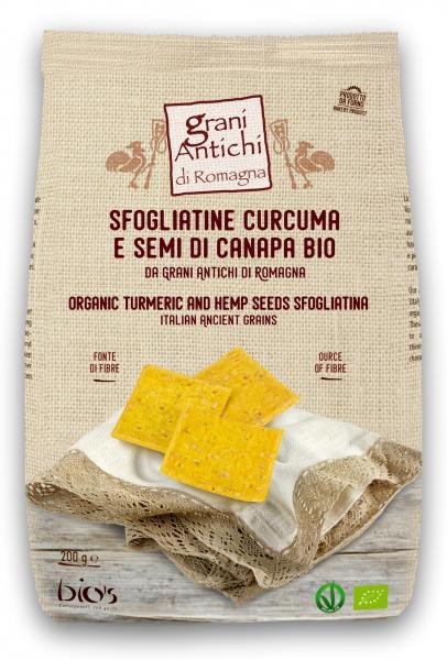Crackers bio fara drojdie din grau antic, turmeric, canepa si ulei masline Grani Antichi [0]