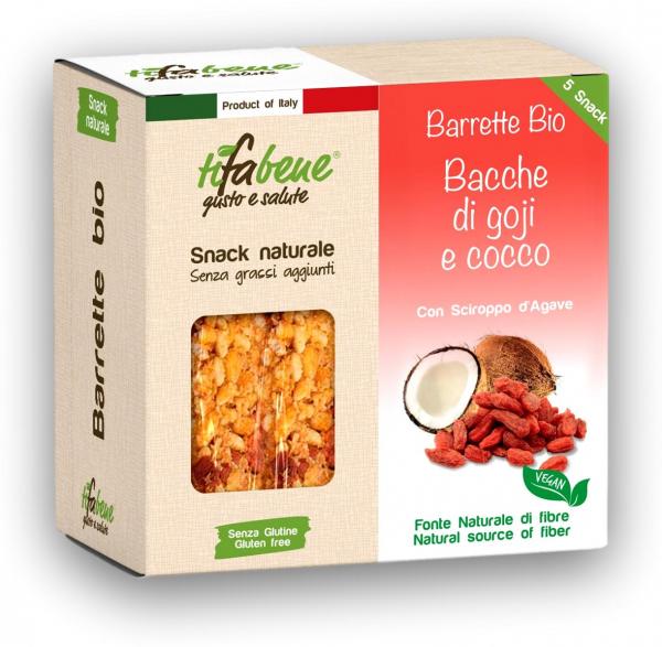 Pachet 5 batoane din cereale bio cu fructe goji, cocos si sirop agave Tifabene [0]