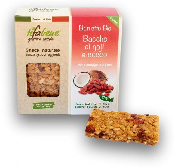 Pachet 5 batoane din cereale bio cu fructe goji, cocos si sirop agave Tifabene [1]
