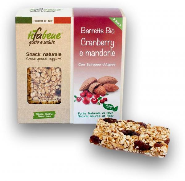 Pachet 5 batoane din cereale bio cu merisor, migdale si sirop agave Tifabene [1]