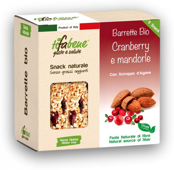 Pachet 5 batoane din cereale bio cu merisor, migdale si sirop agave Tifabene [0]