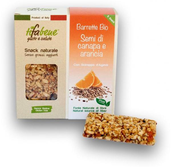 Pachet 5 batoane din cereale bio cu portocale, canepa si sirop agave Tifabene [1]