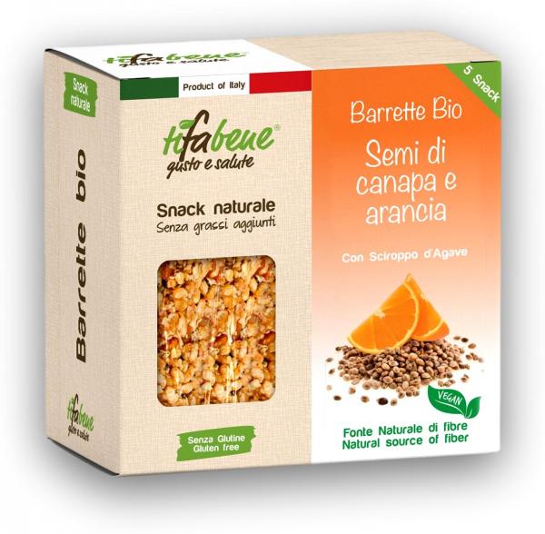 Pachet 5 batoane din cereale bio cu portocale, canepa si sirop agave Tifabene [0]