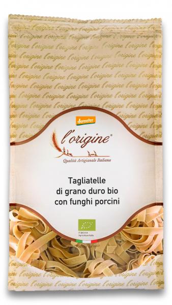 Paste tagliatelle bio demeter din grau dur si ciuperci porcini L'origine [0]